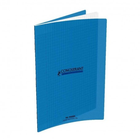 Cahier Conquerant 21X29.7 A4 96p 90g grands carreaux  Séyès couverture Polypr Bleu