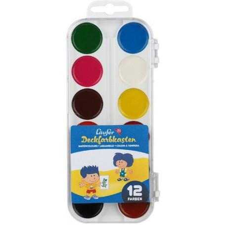 Boite 12 pastilles de couleur à l'eau Läufer
