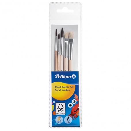 Kit de 5 pinceaux Pelikan avec N°2, 4, 6 fine et N6, 10 brosse