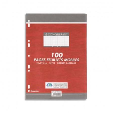 Feuillets mobiles perforés Conquerant A4 90g/m² 100 pages grands carreaux seyès
