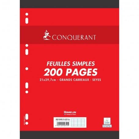 Feuillets mobiles perforés Conquerant A4 90g/m² 200 pages grands carreaux seyès
