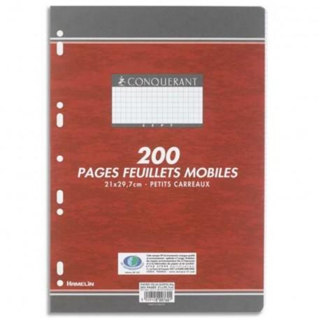 Feuillets mobiles perforés Conquerant A4 120g/m² 200 pages petits carreaux 5x5 quadrillé