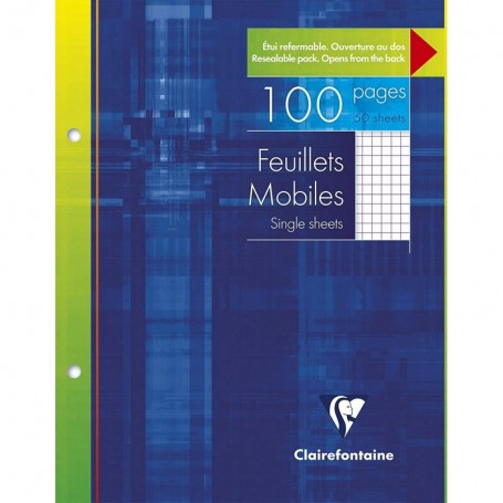 Feuillets mobiles perforés Clairefontaine A4 90g/m² 100 pages grands carreaux seyès