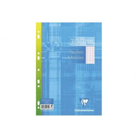 Feuillets mobiles perforés Clairefontaine A4 90g/m² 300 pages grands carreaux seyès