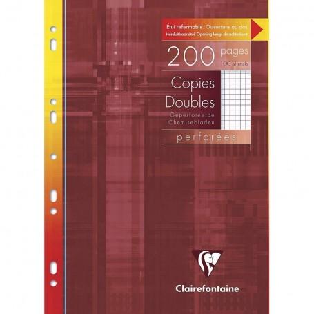Feuillets mobiles doubles perforés Clairefontaine A4 90g/m² 200 pages petits carreaux 5x5 quadrillé avec marge