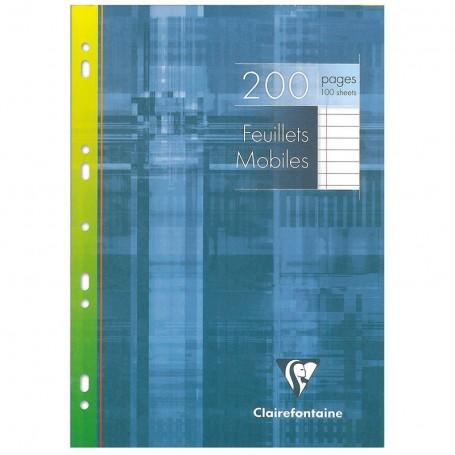 Feuillets mobiles perforés Clairefontaine A4 90g/m² 200 pages ligné avec marge