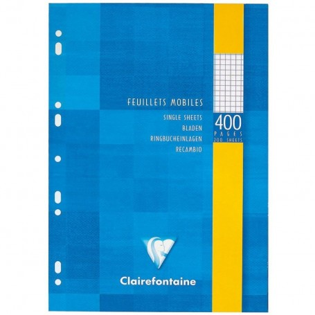 Feuillets mobiles perforés Clairefontaine A4 120g/m² 400 pages petits carreaux 5x5 quadrillé