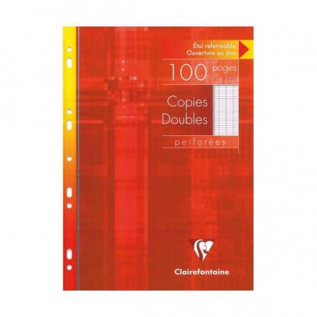 Feuillets mobiles doubles perforés Clairefontaine A4 90g/m² 100 pages grands carreaux seyès