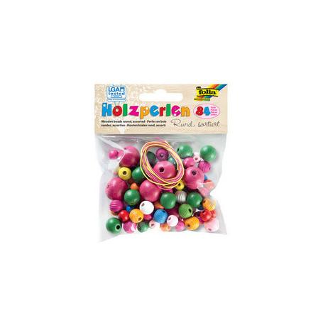 Perles en bois rondes coloris assortis 84 pièces