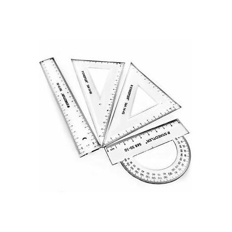 Kit de géométrie 4 pièces Transparent - Prix éco.