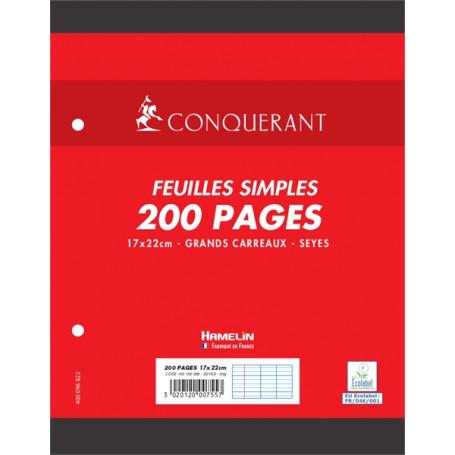 Feuillets mobiles perforés Conquerant 17X22cm 90g/m² 200 pages grands carreaux seyès