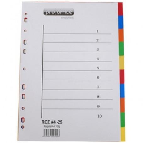 Intercalaires proOFFICE en plastique, coloré, 10 touches  A4