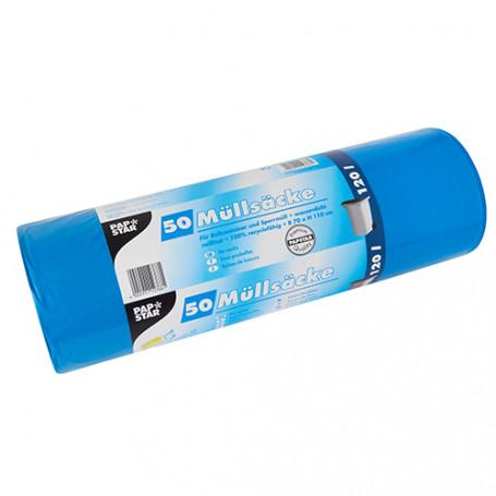 Lot de 50 Sacs poubelle PAPSTAR LDPE 120 L Bleu