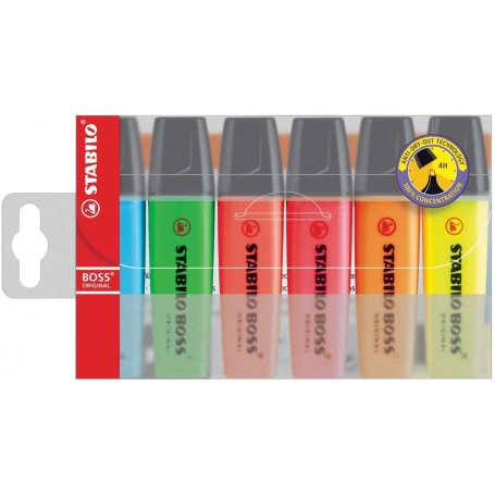 Pochette de 6 surligneurs STABILO Boss Original  couleurs assorties
