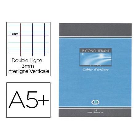 Cahier Décriture 17x22 Cm 32p 90g Grands Carreaux 3mm Séyès Conquérant Cartonnée