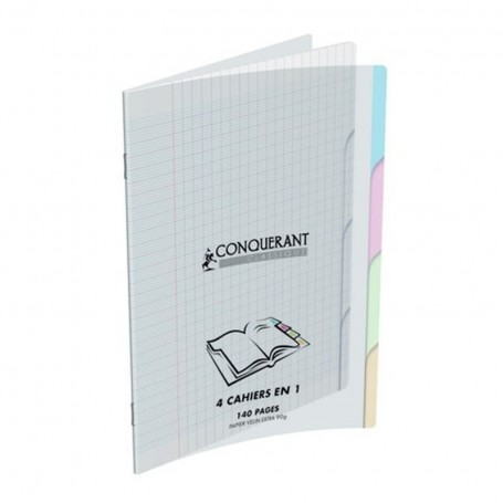 Cahier 4 index Conquerant 17X22 4x35p 90g grands carreaux Séyès