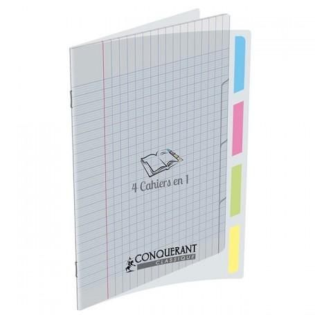 Cahier 4 index Conquerant 24X32 4x35p 90g grands carreaux Séyès