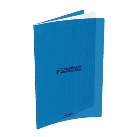 Cahier Conquerant 17X22 48p 90g grands carreaux 3mm Séyès couverture Polypro bleu