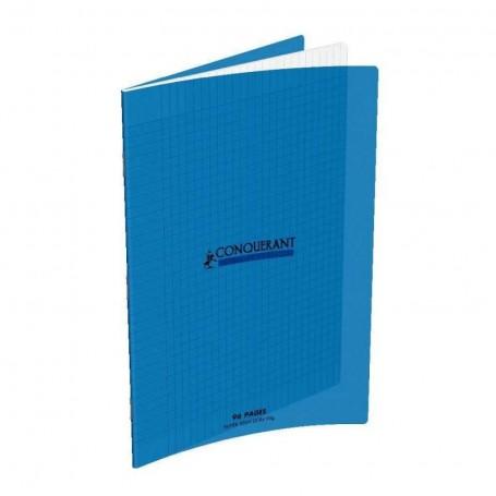 Cahier Conquerant 17X22 96p 90g grands carreaux Séyès couverture Polypro bleu