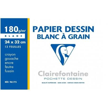 Pochette papier dessin Clairefontaine blanc à grain 180g 12 feuilles 240 X 320 mm