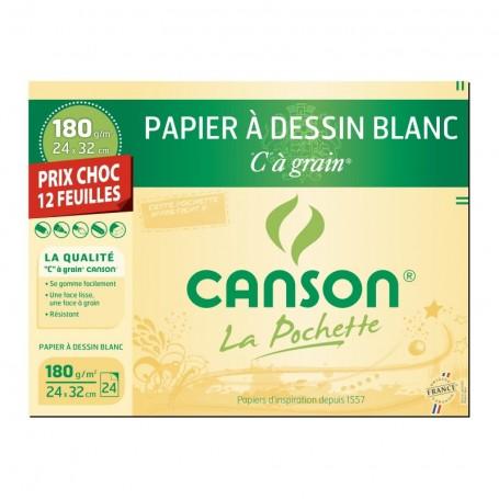 Pochette papier dessin Canson blanc à grain 180g 12 feuilles 240 X 320 mm