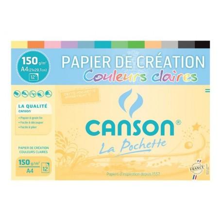Pochette papier dessin Canson couleurs claires à grain 160g 12 feuilles 240 X 320 mm