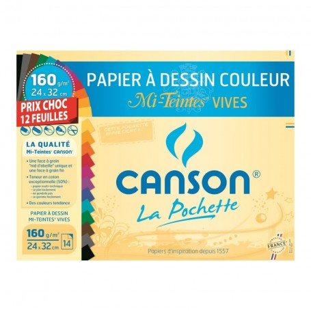 Pochette papier dessin Canson couleurs vives à grain 160g 12 feuilles 240 X 320 mm