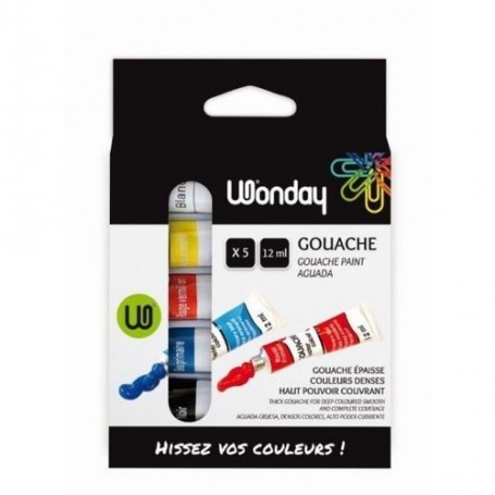 Lot de 5 tubes de Gouache Wonday  12ml