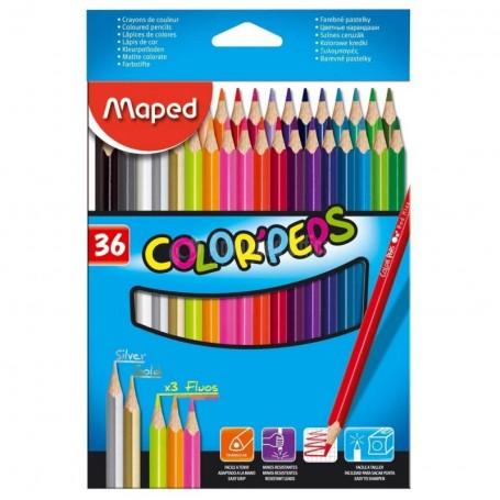 Etui de 36 crayons de couleur tringulaire Maped Color'peps mine 2.9mm