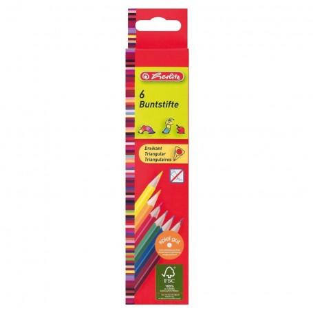Etui de 6 crayons de couleur tringulaire Herlitz mine 2.9mm