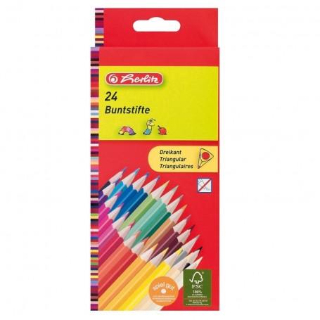 Etui de 24 crayons de couleur tringulaire Herlitz mine 2.9mm