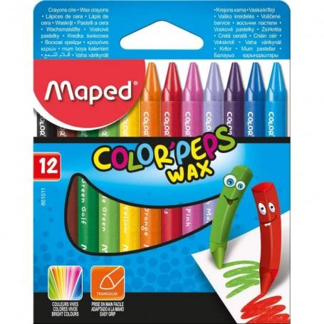 Etui de 12 crayon de cire Maped Color'Peps Wax