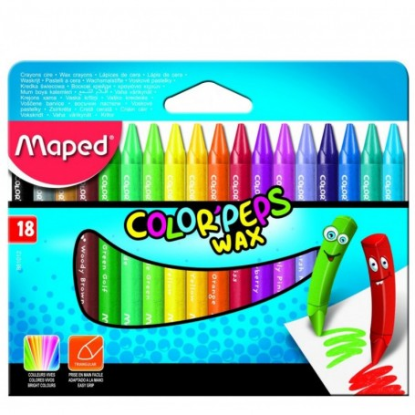 Etui de 18 crayon de cire Maped Color'Peps Wax